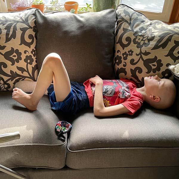 Pediatric cancer survivor Aiden sleeping